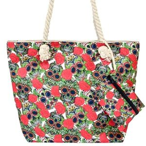 Handbags - Sugar Skull Rope Handle Tote Bag